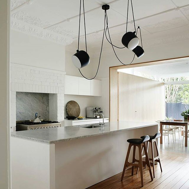 Another gorgeous interior Down Under by @milestonebuilding featuring a chic pair of #ErikBuch Model 61 #barstools in walnut & black leather.  #DanishDesign #WoodBarstool #LeatherBarstool #Barstool #counterstool #ScandinavianDesign #ScandinavianHome #kitchendesign #kitchenisland #kitchencounter #BarDesign #Denmark #sorensenleather #architecture