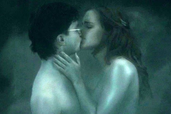 When the Horcrux kissing scene with Harry and Hermione was filmed, Rupert Grint had to be sent off the set, because he couldn't stop giggling.