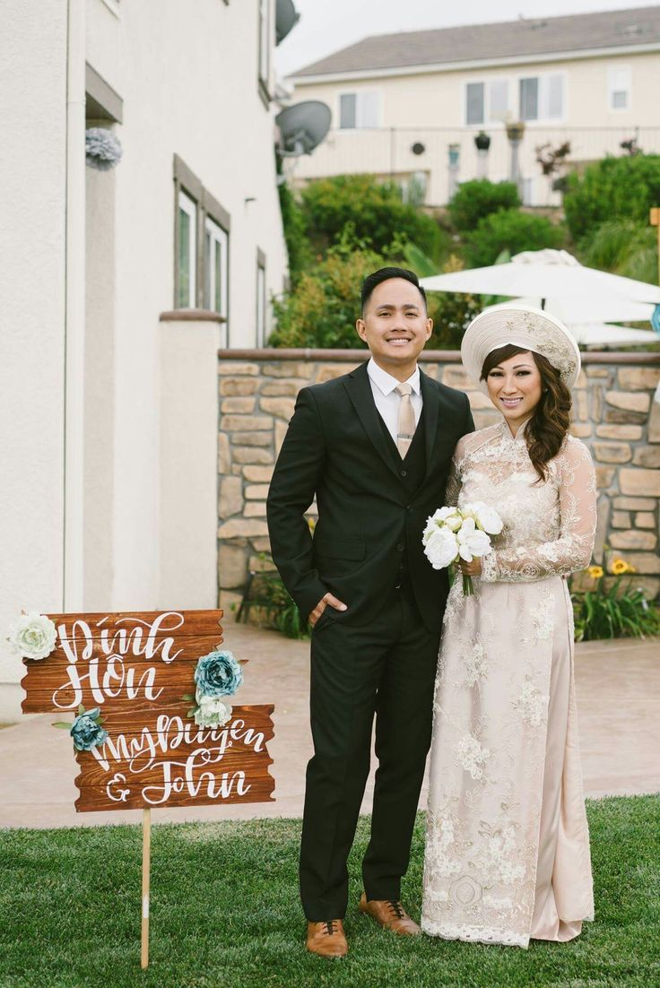 Dinh hon dam hoi ao dai vietnamese traditional dress wedding & lawn sign le dinh hon tea ceremony