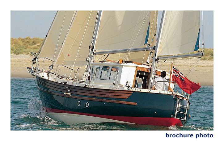 Fisher 34 is a traditionally styled motor-sailer on the general lines of a North Sea fishing boat, of very heavy displacement, and with an excellent reputation for seaworthiness. The Fisher 34 is generally regarded as the model in the Fisher range with the best sailing performance.
