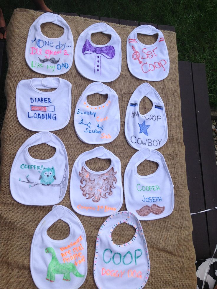 Baby shower fun - bib decorating! --> we can tie-dye bibs to match the onsies!     This is so sweet! I am also going to be doing this with onesies, each guest decorates a onesie with fabric markers, then signs the back like a hallmark card