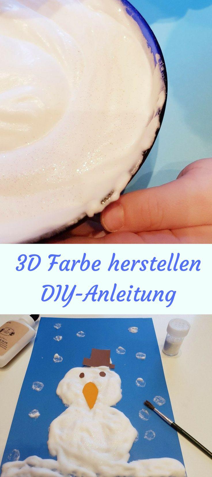 Eine DIY Anleitung um 3 Fluffy Farbe mit den Kindern machen. Trocknet fluffig weich. Basteln mit Kindern, malen mit Kindern. Weihnachten und Winter- Bastelidee