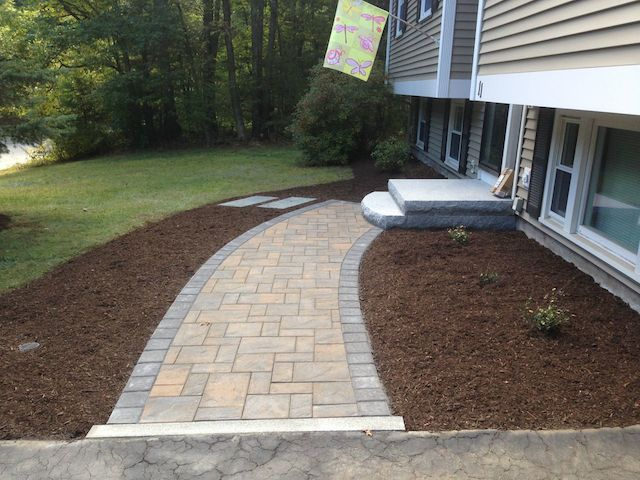 Curved Sidewalk Entrances And Steps Landscaping In Ma