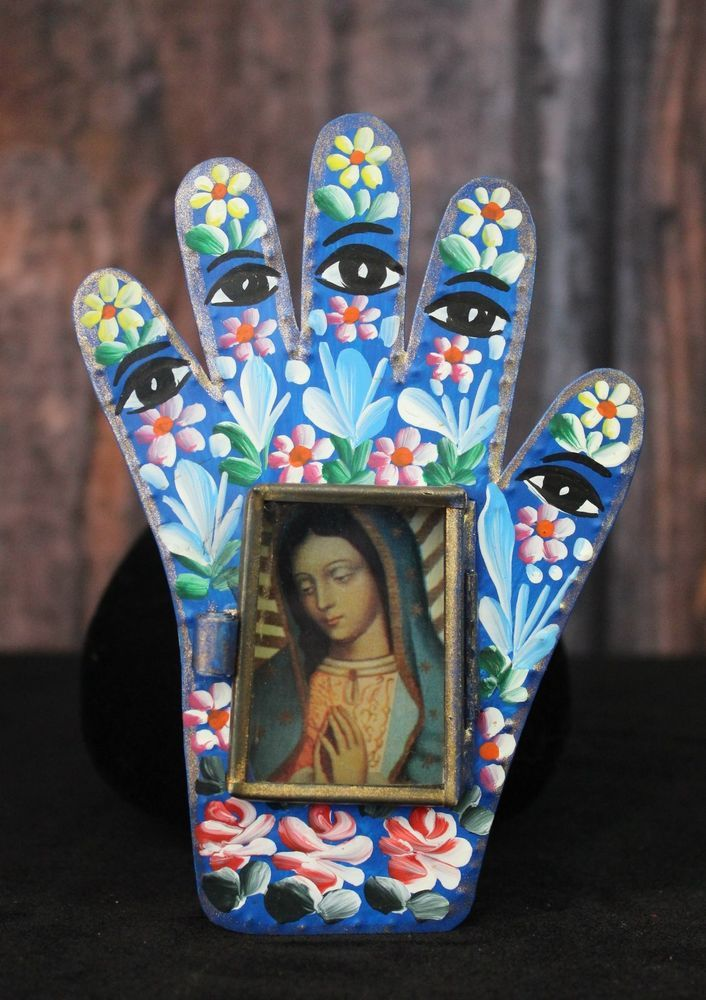 Our lady of guadalupe hand shape with eyes tin retablo for Our lady of guadalupe arts and crafts