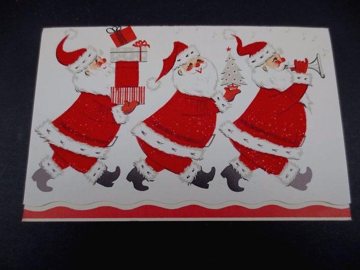 # J261- Vintage Flocked Glittered Xmas Greeting Card Cute Santa's with Presents