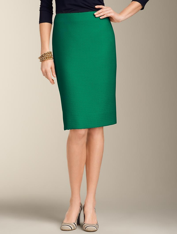 talbots textured pencil skirt misses emerald