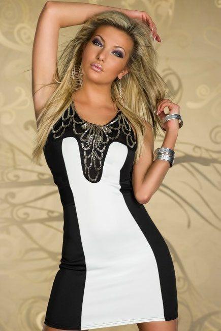 Дешевое Блестками черный белый ну вечеринку мода платье LC2865 женщины одевается лето 2013, Купить Качество Платья непосредственно из китайских фирмах-поставщиках:                             Черное платье                                    Секси бикини набор белья