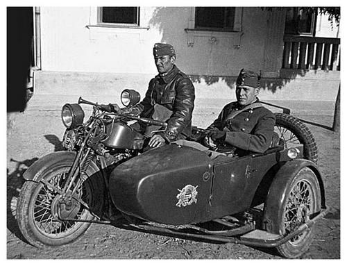 Hungarian motorcycle and side car