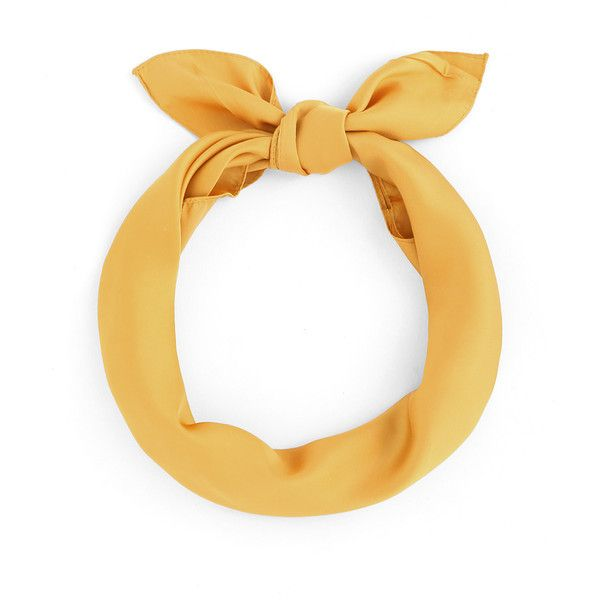 SheIn(sheinside) Plain Satin Bandana (£4.61) ❤ liked on Polyvore featuring accessories, scarves, yellow, satin shawl, yellow handkerchief, satin scarves, yellow scarves and yellow shawl