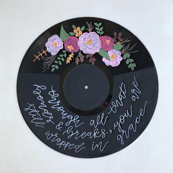 This Painted Vinyl Record Is A Beautiful And Trendy Piece To Adorn