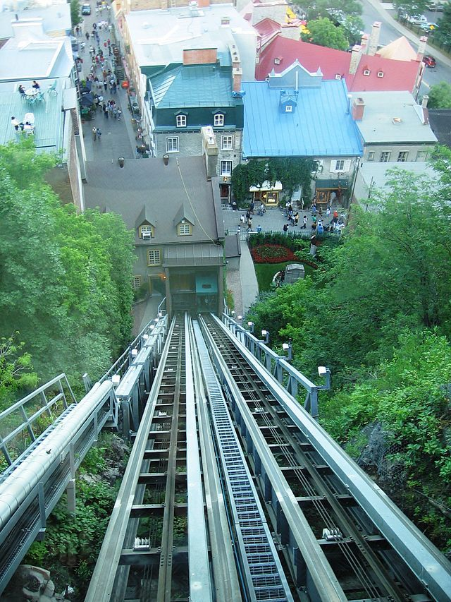 Funiculaire du Vieux-Québec - at the entrance of the Rue du Petit Champlain is found the Funicular of Old Quebec, it's a tourist funicular that connects the Petit Champlain in the Lower Town to the Dufferin Terrace at the top of Cap Diamant .