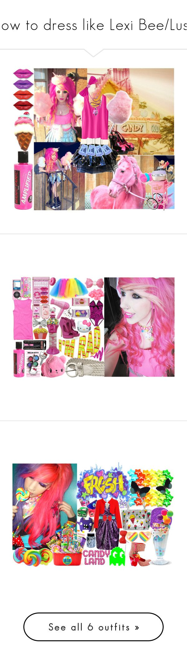 """""""How to dress like Lexi Bee/Lush"""" by yourfaceissmiling ❤ liked on Polyvore featuring Manic Panic NYC, Iron Fist, Cotton Candy, Hell Bunny, Reiko Ladies, E.vil, Dollydagger, Hello Kitty, PBteen and Matthew Williamson"""