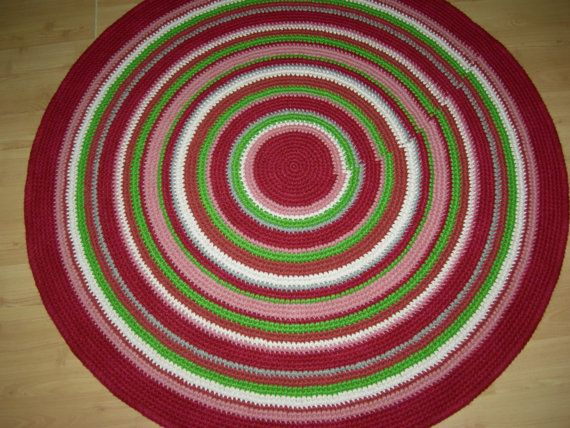 Crochet round rug 47'' 120 cm/Crochet by AnuszkaDesign on Etsy, $120.00
