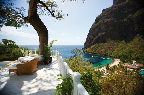 10 Places Where You Can Sleep on a Beach: Jalousie Plantation, Sugar Beach, St. Lucia. Photo courtesy of Viceroy Hotel Group