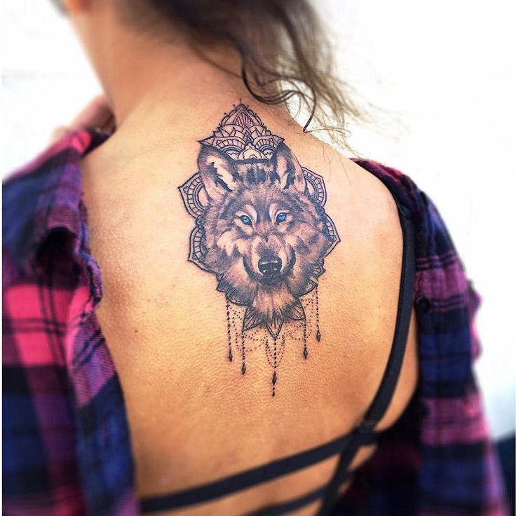 Wolf and mandala tattoo by Rowell Alfelor. #tat #tats #tattoo #tattoodesign