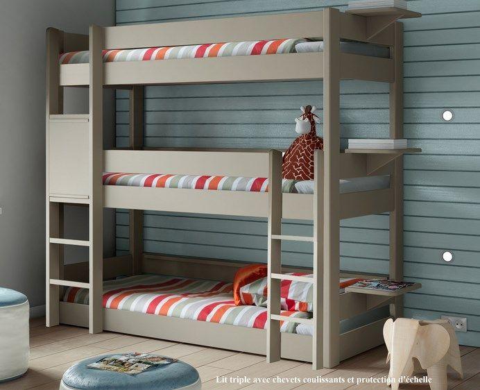 un lit superpos trois places c 39 est le lit enfant triple cologique en bois massif de mathy by. Black Bedroom Furniture Sets. Home Design Ideas