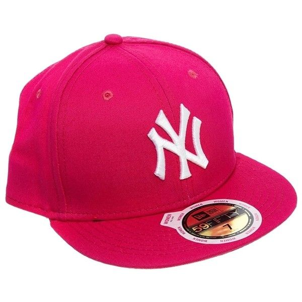 New Era 59Fifty NY League Cap in Pink (26 AUD) ❤ liked on Polyvore featuring accessories, hats, cap, flat bill snapback hats, crown hat, new era snapbacks, pink cap and flat bill hats