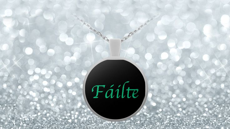 * JUST RELEASED  Say Hellowith this stunning piece of jewellery. Dramatic in its simplicity this necklace says simply Fálte, the Irish greeting. This one word in green on a black background is set off by the silver frame of the necklace itself.Limited Time OnlyThis item is NOT available in stores.