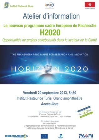 Présentation du nouveau programme cadre Européen de Recherche H2020 : Opportunités de projets collaboratifs dans le secteur de la Santé- Institut Pasteur de Tunis 20 septembre.