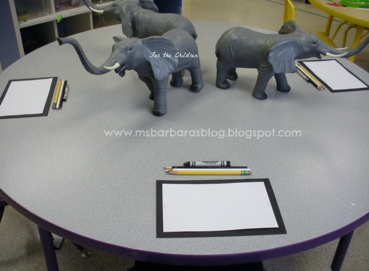 Ms. Barbara explains the photo: Still Life Art. Art paper matted on black, pencil, colored pencils (black and white) black crayon. *I would probably not limit their color palette. I would like to see the inevitable rainbow elephants!