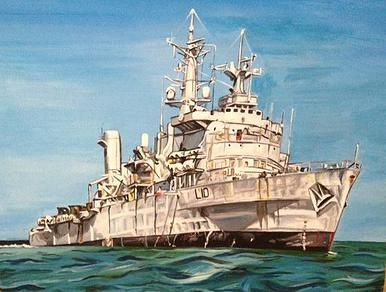 HMS Fearless - acrylic painting on canvas