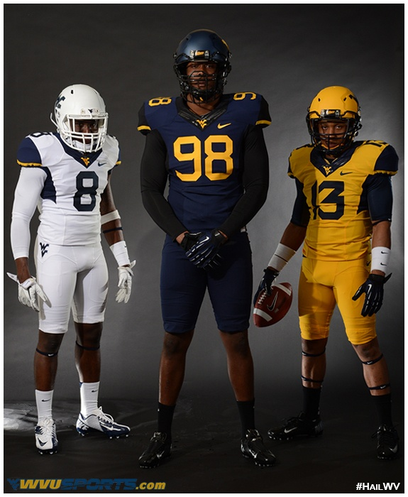 A look at the new #WVU Mountaineer football uniforms for 2013. #HailWV