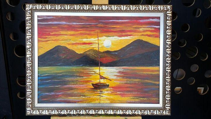 KNIFE Modern oil painting canvas by Leonel Muniz - size: 60cm x 80cm. $ 300.
