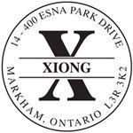 "Self-Inking Stamp 1-11/16"" round Monogram Letter X."
