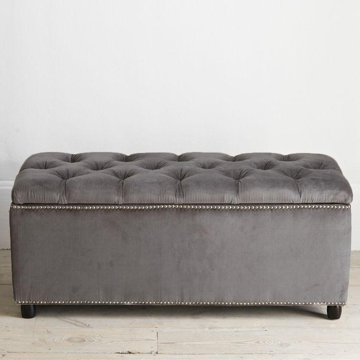 Chatsworth Storage Ottoman Grey Velvet