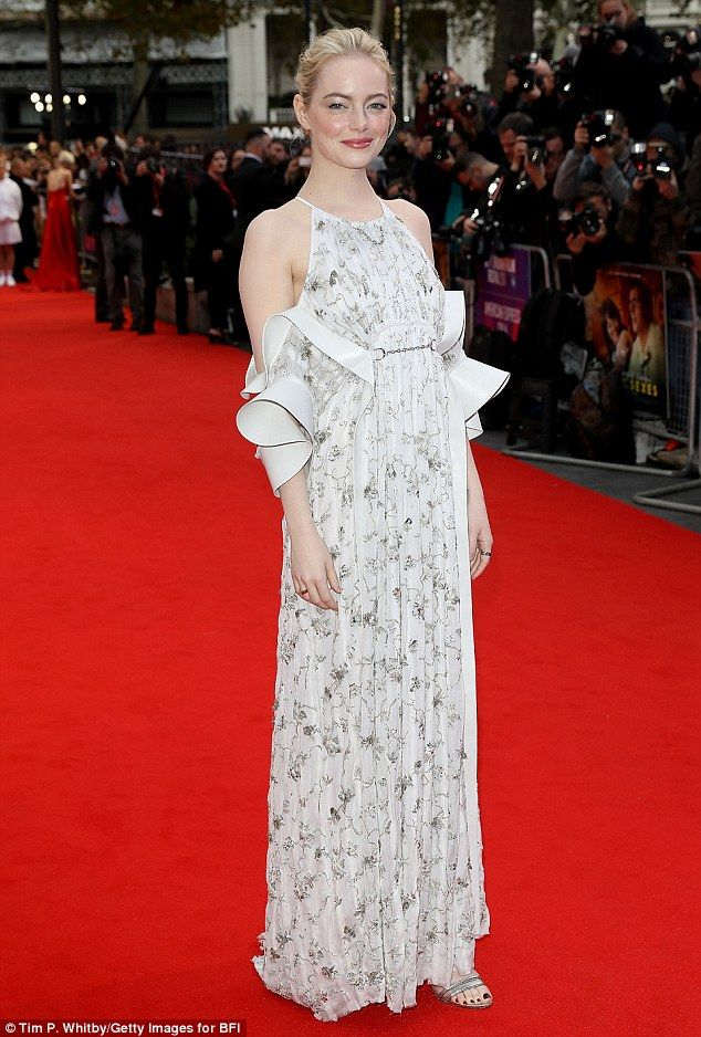 Glamorous: Emma Stone looked proud of her latest foray on-screen as she stepped out at the European premiere of Battle of the Sexes during the 61st BFI London Film Festival on Saturday