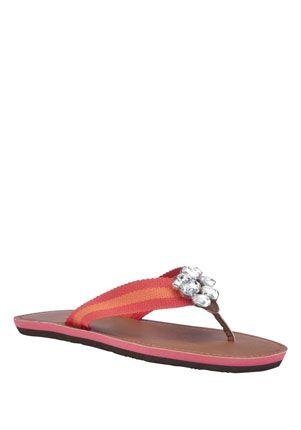 F Jewel Trim Flip Flops