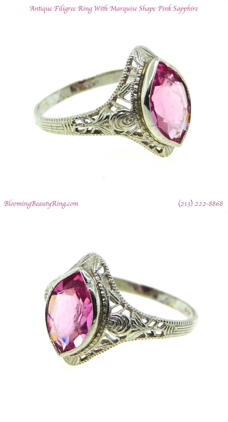 Antique Estate Filigree Ring with Marquise Shape Natural Pink Sapphire http://www.BloomingBeautyRing.com (213) 222-8868