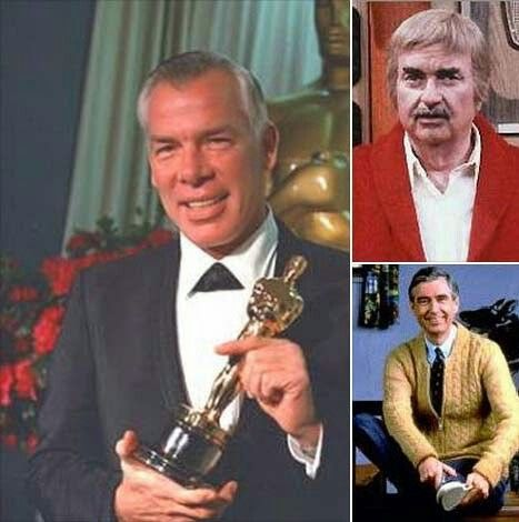 "Actor Lee Marvin (left) star of ""The Dirty Dozen"" movie franchise. Bob Keeshan (top right) aka ""Captain Kangaroo"", Mr. Rogers (bottom right). All 3 men, certified authentic war heroes. Who would've guessed."