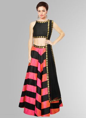 New Pink & Black Raw Silk Semi Stitched Lahenga Choli Vand V Lehengas on Shimply.com