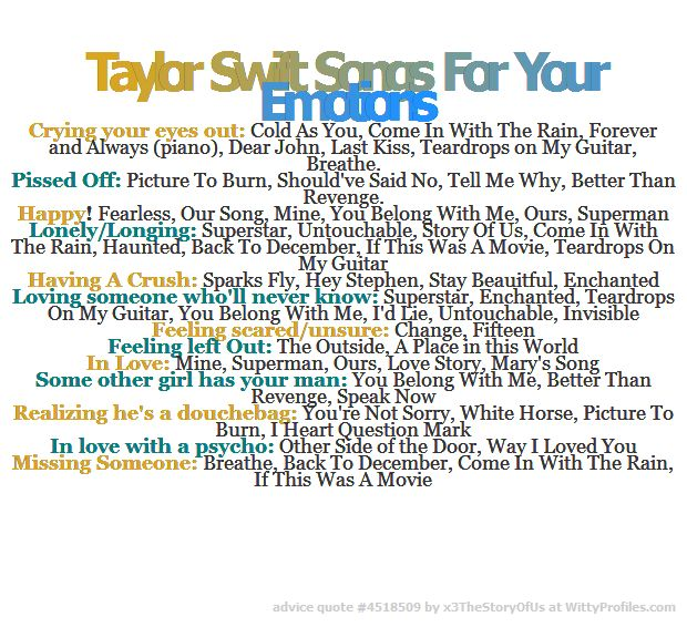 Taylor Swift Songs For Your Emotions Crying your eyes out: Cold As You, Come In With The Rain, Forever and Always (piano), Dear John, Last Kiss, Teardrops on My Guitar, Breathe. Pissed Off: Picture To Burn, Should've Said No, Tell Me Why, Better Than Revenge. Happy! Fearless, Our Song, Mine, You Belong With Me, Ours, Superman Lonely/Longing: Superstar, Untouchable, Story Of Us, Come In With The Rain, Haunted, Back To December, If This Was A Movie, Teardrops On My Guitar Having A Crush…