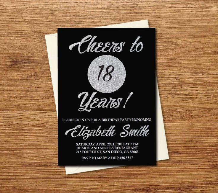 18th Birthday Invitation/Printable Glitter Silver & Black