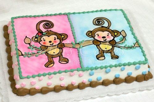 Monkey baby shower cake for twins baby shower cakes pinterest baby showers baby shower - Monkey baby shower cakes for boys ...