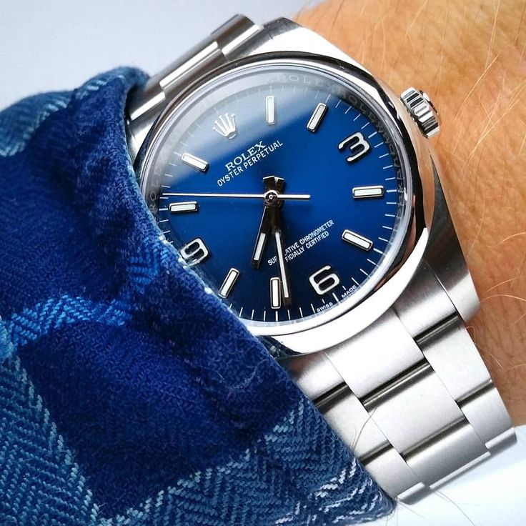 Rolex Oyster Perpetual Stainless Steel Watch with Cobalt face