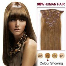 #12 Golden brown clip in hair extensions  15-28inch      70-160g/set