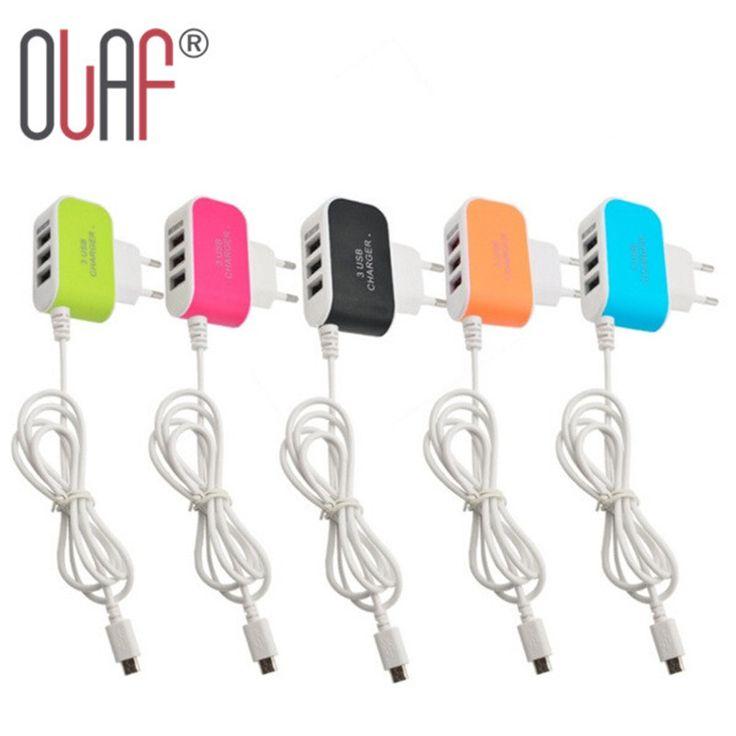 Новый ЕС Plug 3.1A 3 Порта USB Зарядное Устройство Кабель Micro Usb Power мобильный Телефон Зарядное устройство Для Samsung LG HTC Huawei iPhone 6 6 S 7