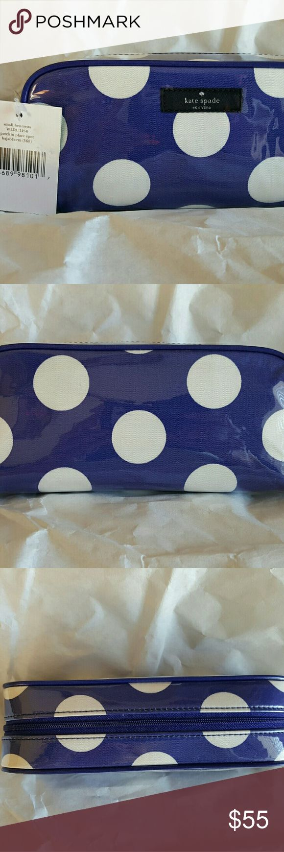 KATE SPADE Henrieta Patchin Place Cosmetic Bag NWT KATE SPADE Small Henrietta Patchin Place Spot Cosmetic Bag - Blue with White Polka Dots (NWT) original price $60  This little coated faille cosmetic clutch is sure to bring a smile to your face with its cheery polka dot print.  MATERIAL - laminated cotton twill with cotton twill trim - 14-karat light gold plated hardware  - custom woven durable nylon   FEATURES & DETAILS  - zip around cosmetic bag  - blue with white polka dots - ivory nylon…
