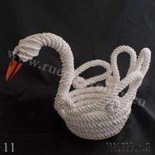 Лебедь. Косое плетение из газетной лозы. МК