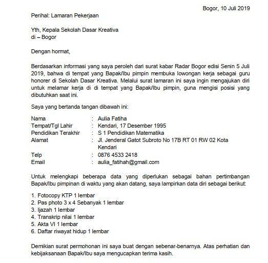 Contoh Surat Lamaran Kerja Guru Sekolah Dasar Id Lif Co Id