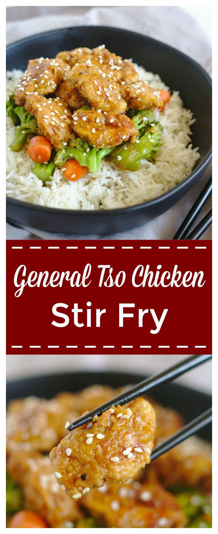 General Tso Chicken Stir Fry – Skip the takeout and try making this easy 30 minute meal! Breaded chicken baked and covered in a delicious general tso sauce! Add in some vegetables and dig in! #asian #chinese #stirfry #chicken #generaltso