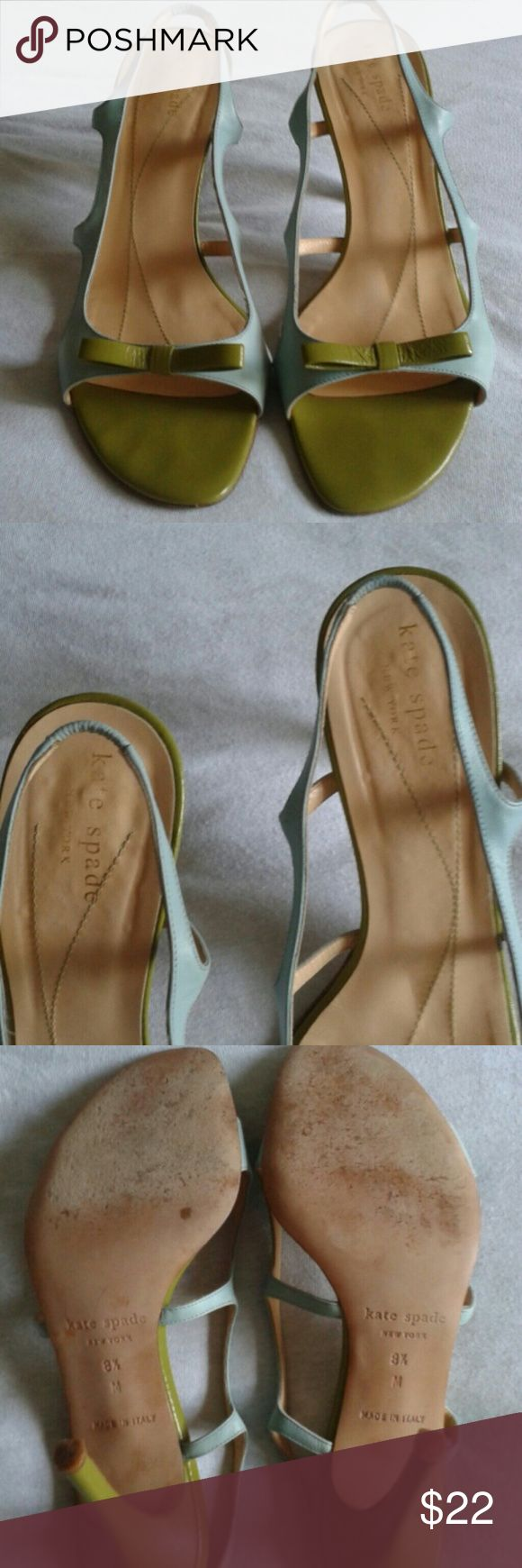 "Kate Spate scrappy sandals size 8.5 Adorable sandals with Kate Spade""s signature bow. The sandals are in very nice condition.  They have a few small marks in the back by the heel as shown in the picture.  Although the sandals show some wear they still make a great statement and look great on your feet. The heel is about 4inches. Upper and sole is all leather. kate spade Shoes Sandals"