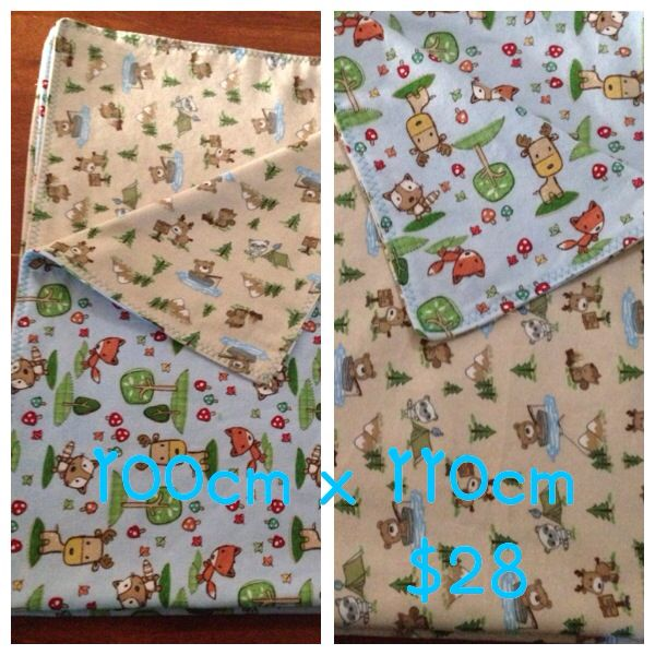 Double sided premium flannelette. I think this forest scene is gorgeous for a baby boy! Perfect size for play time on the floor and super cosy when folded and used in the pram or car. Available from www.facebook.com/druberryblankets