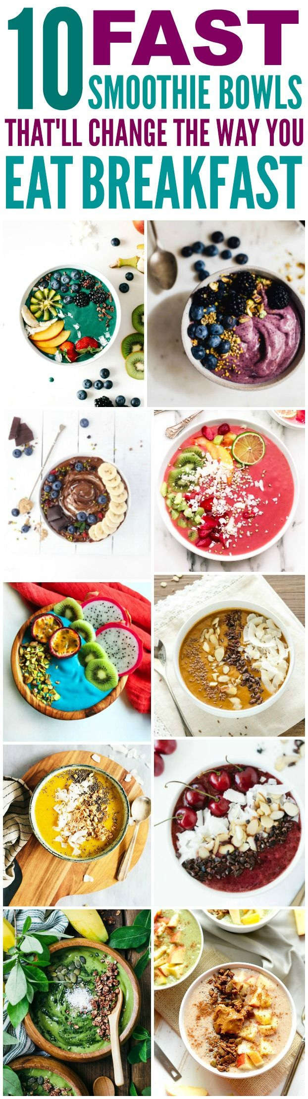 These 10 Super Healthy and delicious smoothie bowls are THE BEST! I'm so happy I found these GREAT recipes! Now I have breakfast ideas that'll make my morning so much easier! Definitely pinning!
