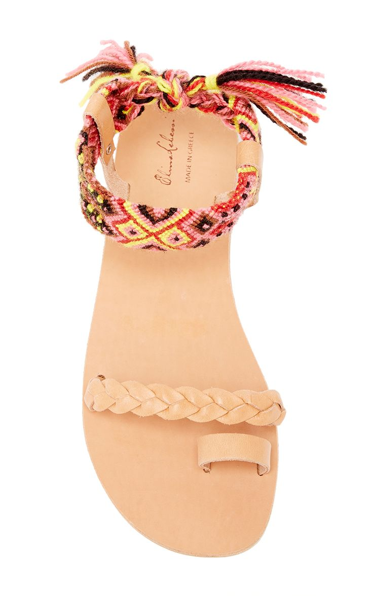 Athina Wide In Pink Leather & Cotton Sandal by ELINA LEBESSI for Preorder on Moda Operandi