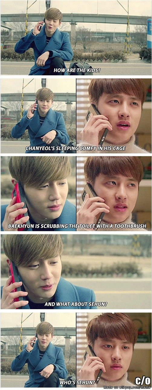 When I was watching this scene. I was like aww Suho appa called D.O. umma how cute.