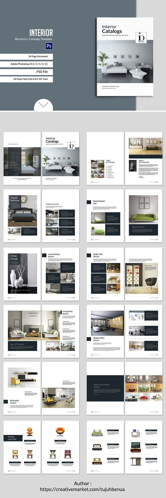 Interior Brochure/Catalogs Template by tujuhbenua on @creativemarket